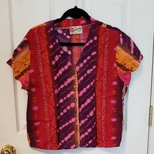 colorful authentic Hawaiian v neck top